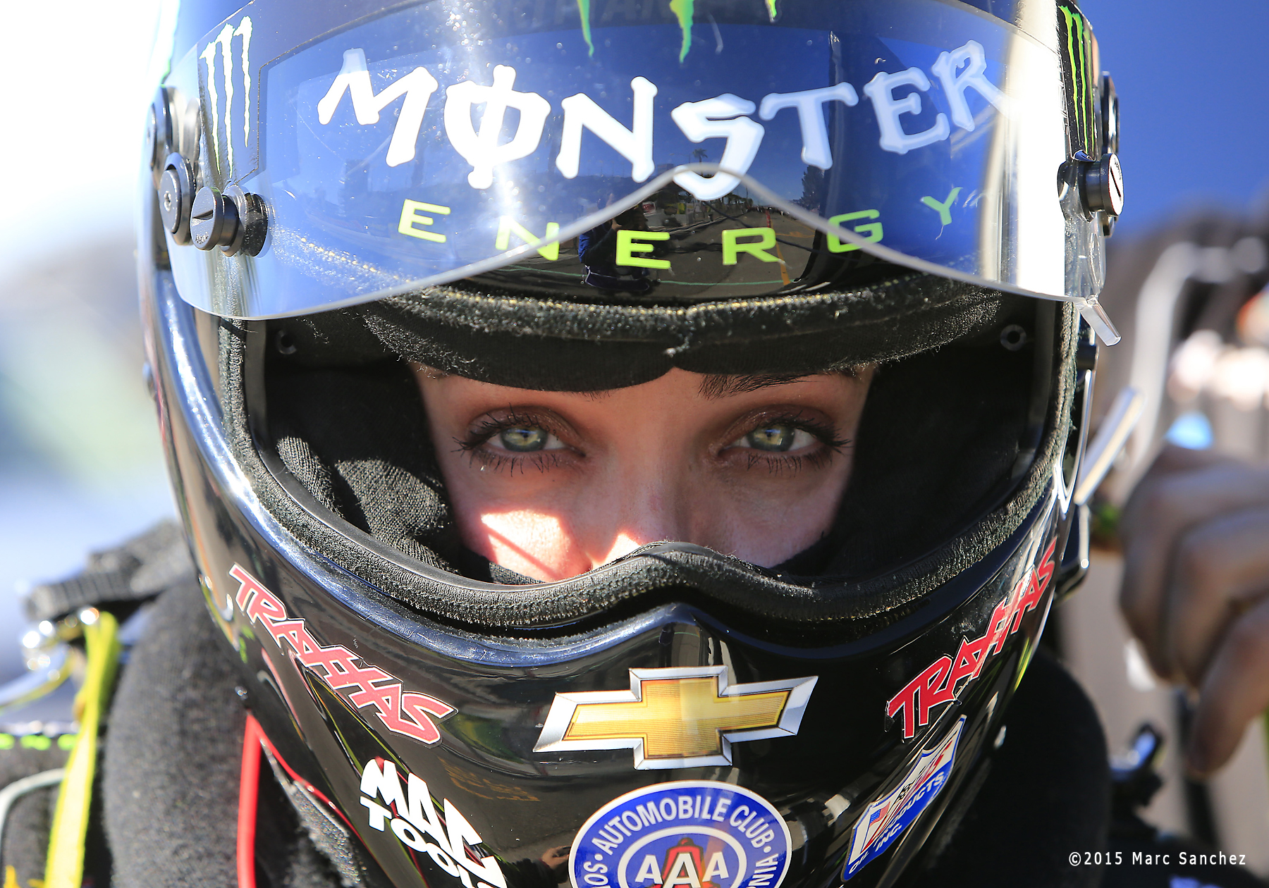 2015 October 31: Brittany Force (10 TF) John Force Racing NHRA Top Fuel Dragster during the Toyota NHRA Nationals at The Strip at Las Vegas Motor Speedway in Las Vegas, Nevada.  (Photo by Marc Sanchez/Icon Sportswire)