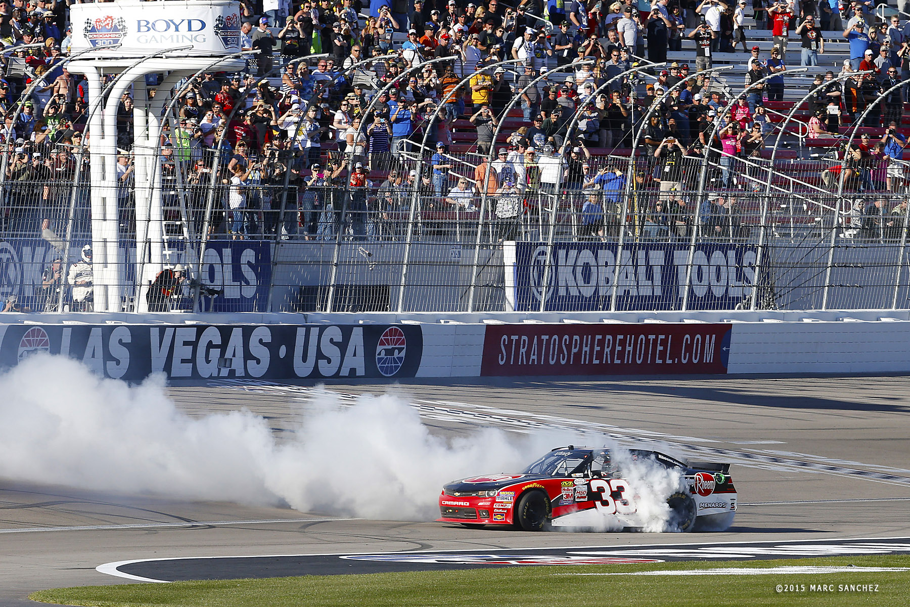 07 March 2015: Austin Dillon (33) Richard Childress Racing Chevrolet Camaro performs a burnout at the finish line after winning the NASCAR XFINITY Series Boyd Gaming 300 at Las Vegas Motor Speedway in Las Vegas, Nevada. (Photo by: Marc Sanchez/Icon Sportswire)