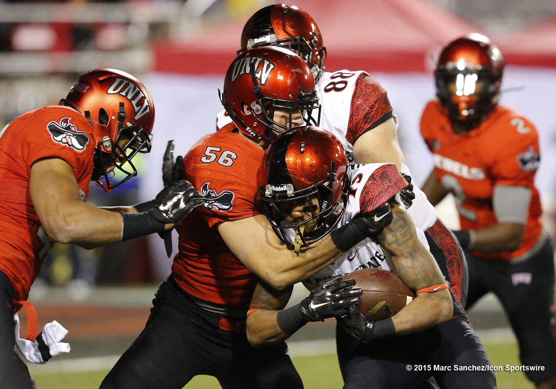 2015 November 21: Donnel Pumphrey (19) San Diego State University running back during a game against UNLV at the Sam Boyd Stadium in Las Vegas, Nevada.  (Photo by Marc Sanchez/Icon Sportswire)