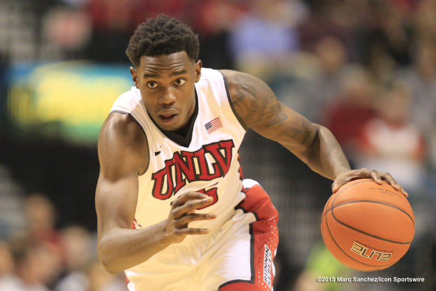 2015 December 04: Dwayne Morgan (15) UNLV forward during the MGM Grand Showcase inside the MGM Grand Garden Arena in Las Vegas, Nevada.  The UNLV Rebels would defeat the Oregon Ducks 80-69.  (Photo by Marc Sanchez/Icon Sportswire)