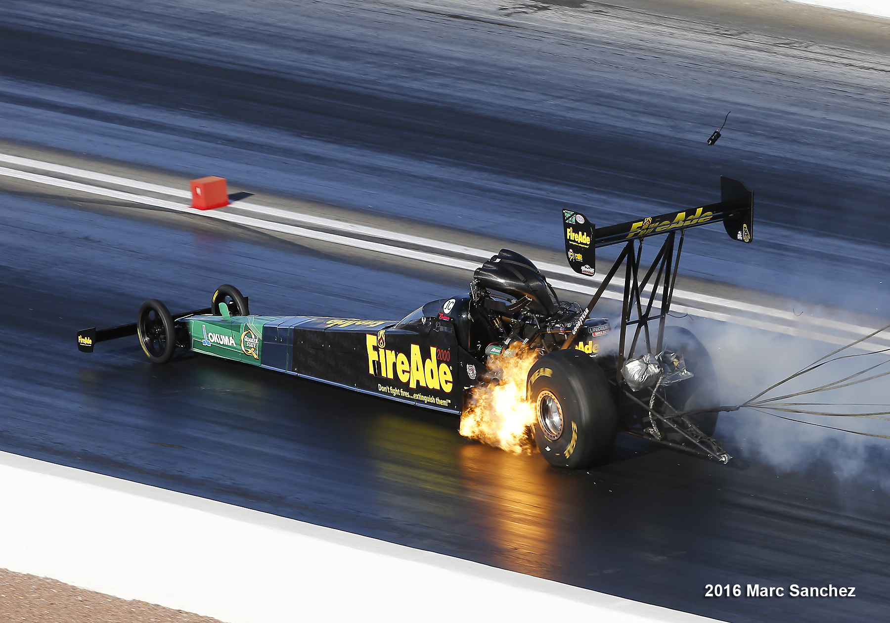 2016 April 02: Leah Pruett (777 TF) NHRA Top Fuel Dragster blows an engine during the NHRA Denso Spark Plugs NHRA Nationals at The Strip at Las Vegas Motor Speedway in Las Vegas, Nevada.
