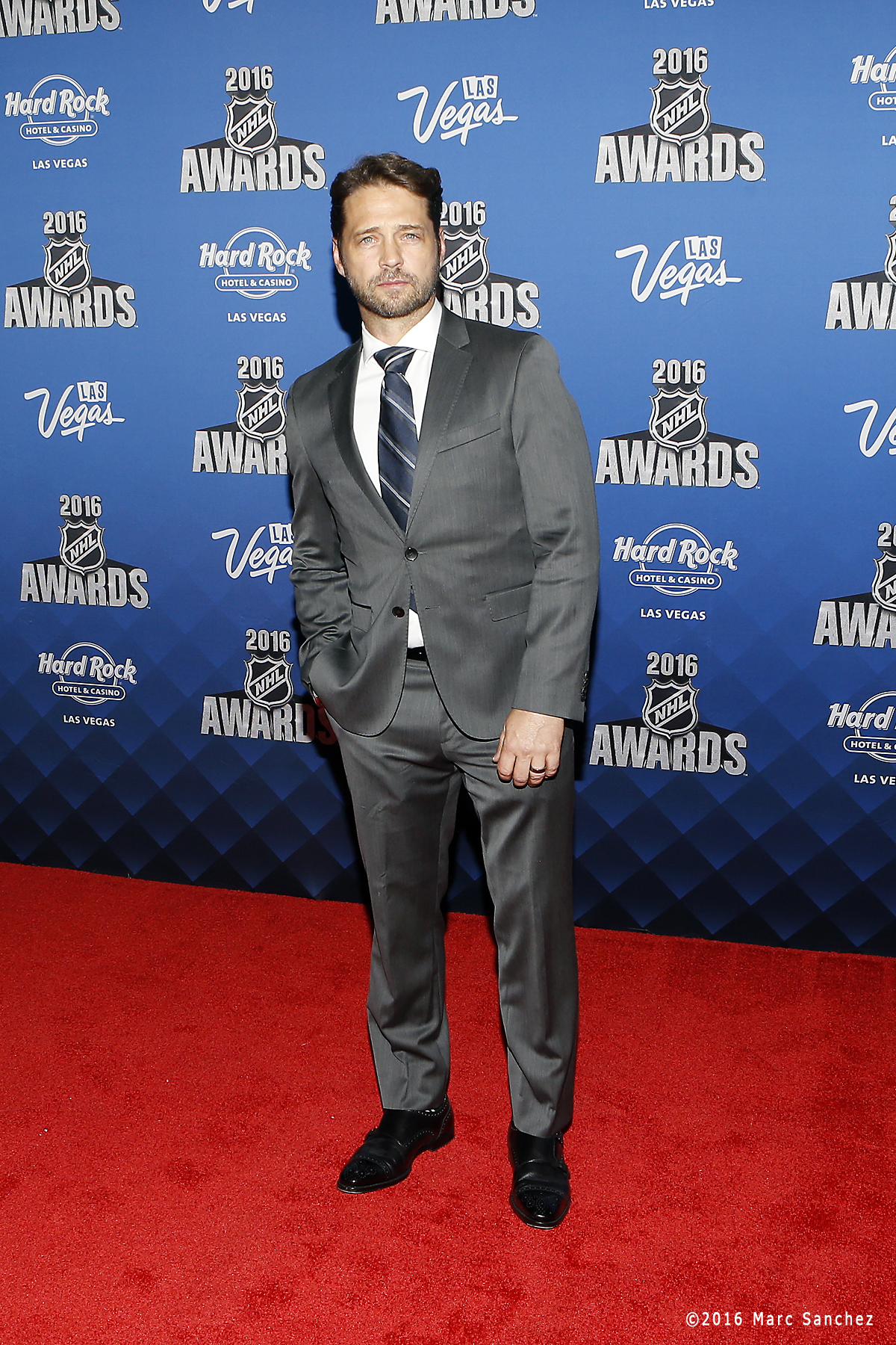 2016 June 22:  Actor and director Jason Priestley poses for a photograph on the red carpet during the 2016 NHL Awards at the Hard Rock Hotel and Casino in Las Vegas, Nevada. (Photo by Marc Sanchez/Icon Sportswire)