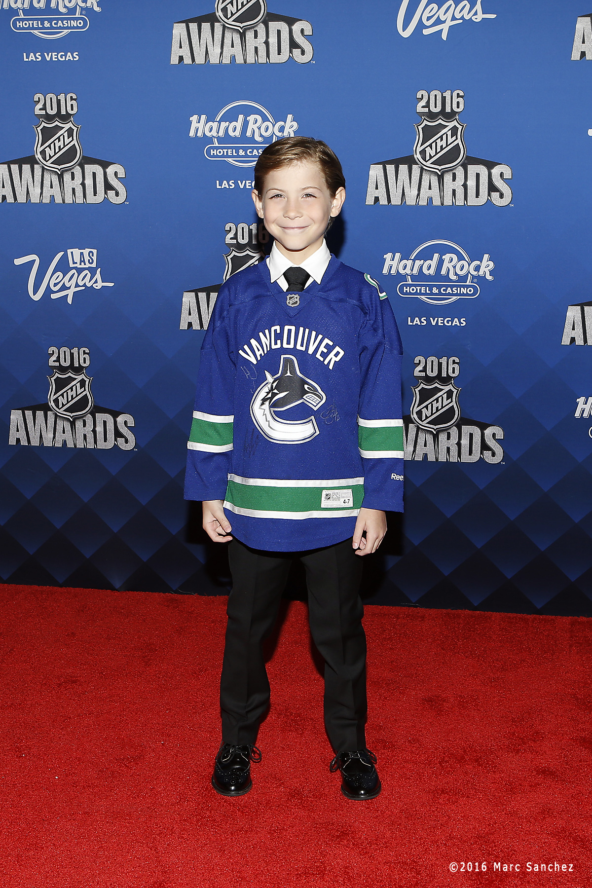 2016 June 22: Actor Jacob Tremblay poses for a photograph on hte red carpet during the 2016 NHL Awards at the Hard Rock Hotel and Casino in Las Vegas, Nevada. (Photo by Marc Sanchez/Icon Sportswire)