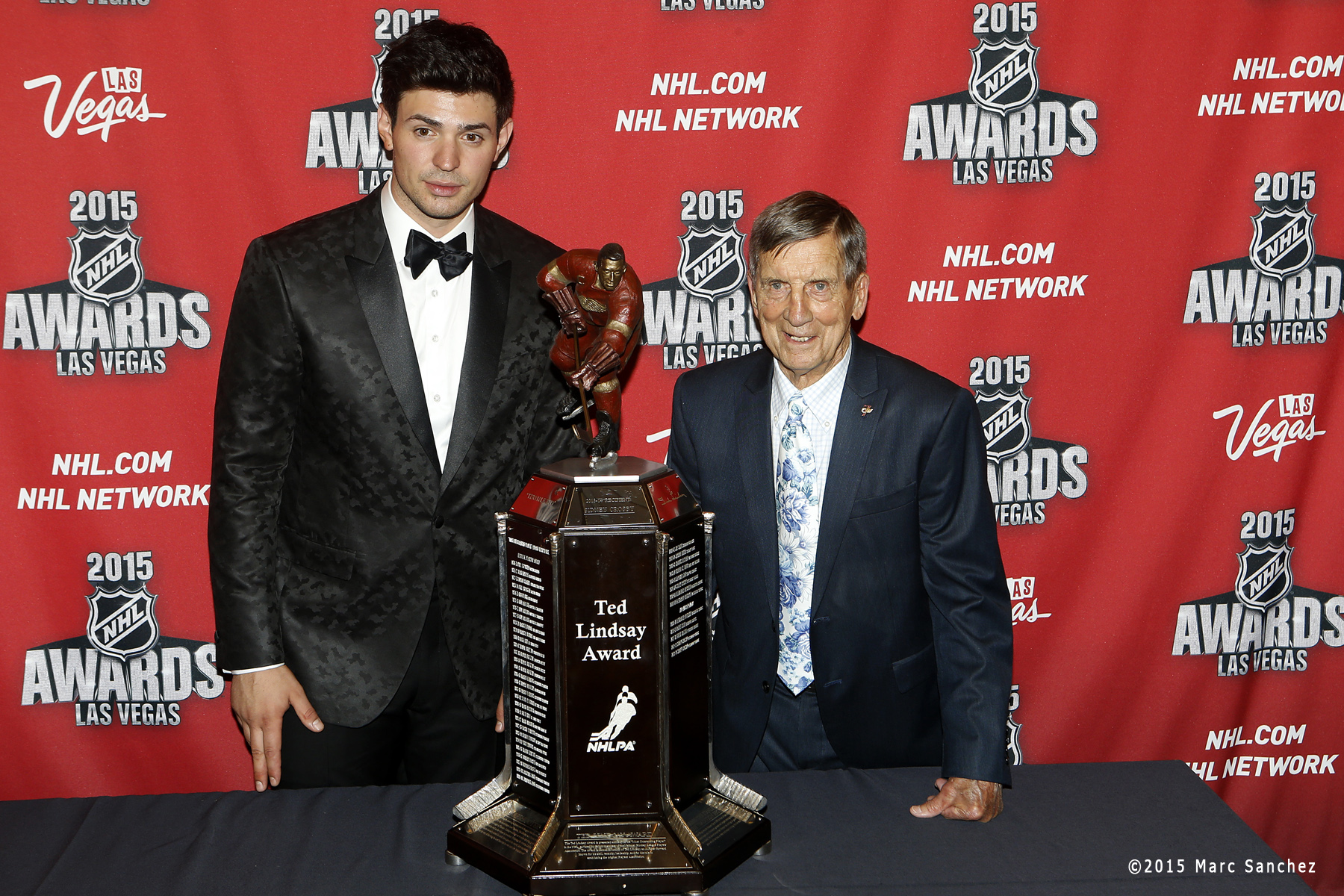 2015 June 24:  Carey Price of the Montreal Canadiens poses with Ted Lindsay after winning the Ted Lindsay Award at the the 2015 NHL Awards at the MGM Grand Garden Arena in Las Vegas, Nevada.