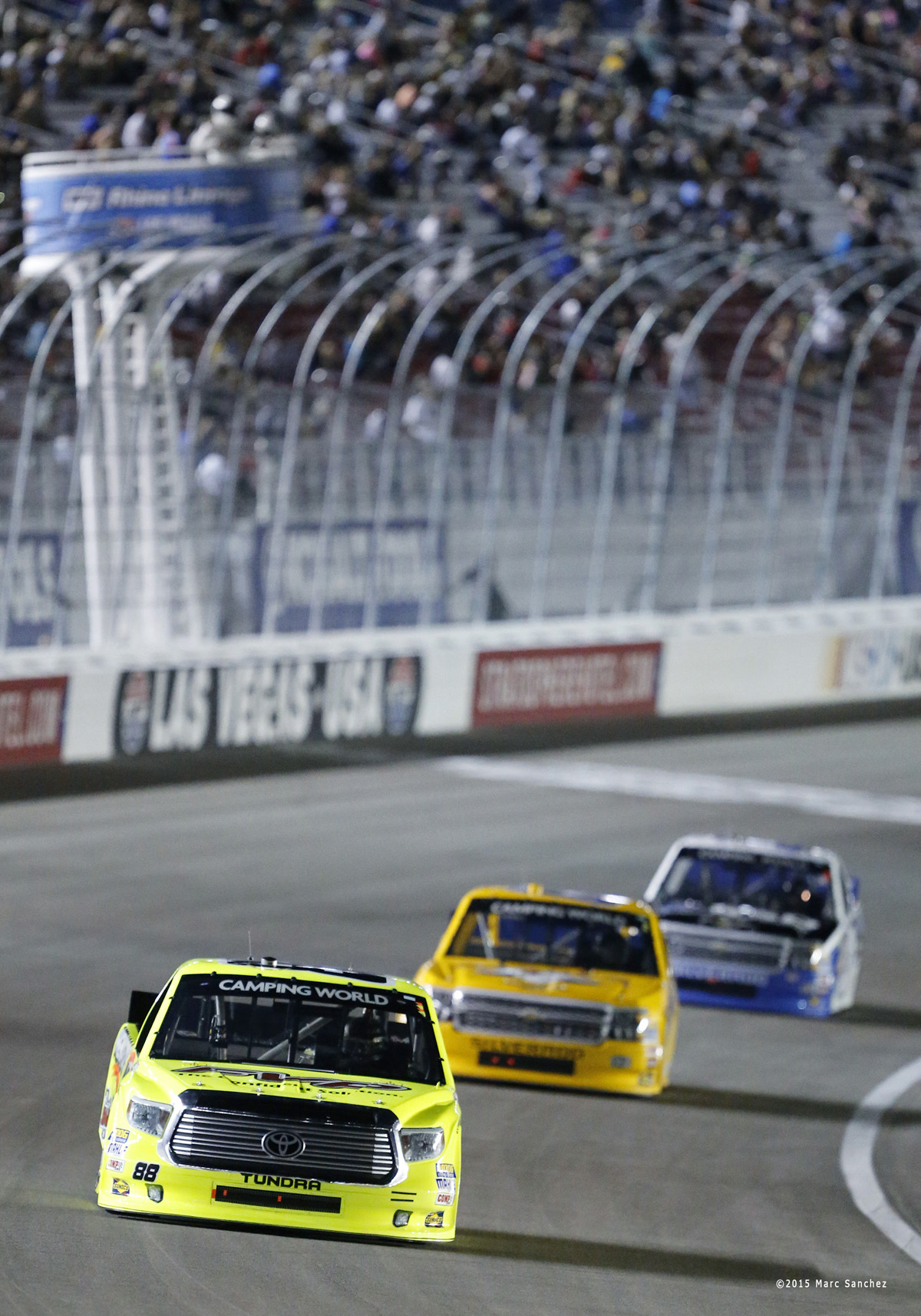 2015 October 03: Matt Crafton (88) ThorSports Racing Toyota Tundra at the start of the 19th annual Rhino Linings 350 NASCAR Camping World Truck Series at the Las Vegas Motor Speedway in Las Vegas, Nevada. (Photo by Marc Sanchez/Icon Sportswire)