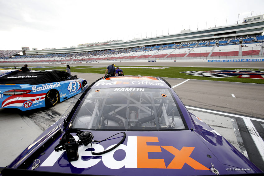 LAS VEGAS, NV - MARCH 10: A general view of the Denny Hamlin (11) Joe Gibbs Racing (JGR) Toyota Camry parked before qualifying for the Kobalt 400 NASCAR Monster Energy Cup Series race on March 10, 2017 at Las Vegas Motor Speedway in Las Vegas, NV.  (Photo by Marc Sanchez/Icon Sportswire)